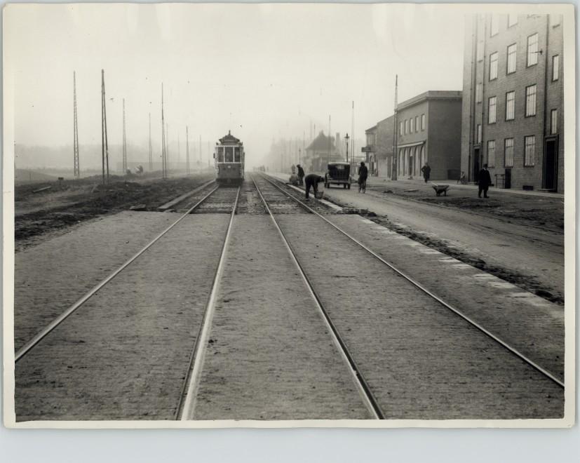 Jagtvej, december 1932 mellem Tagensvej og Lyngbyvej.